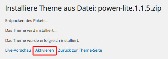 Activate theme in WordPress Source: Screenshot WordPress Backend
