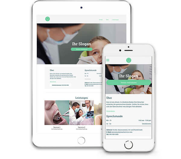 Website Builder, Dental clinic Website, iPad & iPhone view