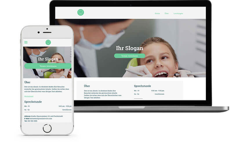 Website Builder, template for dental clinic website, different screen sizes